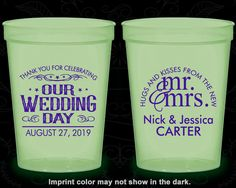 Our Wedding Day, Glow in the Dark Cups, Hugs and Kisses from the new Mr and Mrs, Mr and Mrs Wedding, Glow in the Dark (550)