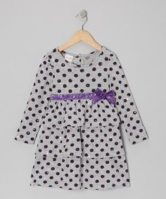 This Gray Polka Dot Ruffle Dress - Girls is perfect! #zulilyfinds