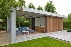 Modern Poolhouse in Trespa en hout | Bogarden