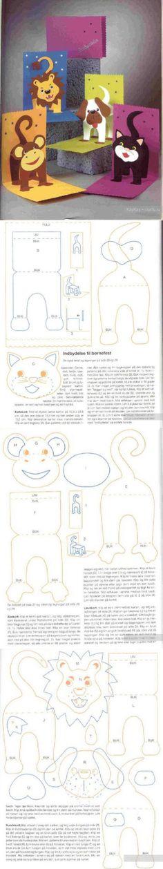 Двигающиеся открытки своими руками - лев, обезьяна, кот и собака. Поделки для детей / Поделки и аппликации для детей / КлуКлу. Рукоделие - бисероплетение, квиллинг, вышивка крестом, вязание
