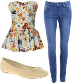Inspired Outfit for the Mall  Straight leg jeans / ASOS ballerina flat / Floral Splash Bustier