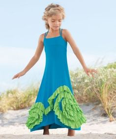 Cami- Chasing Fireflys multi swirly ruffles maxi girls dress $89 Also in pink and orange