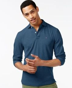 Tommy Hilfiger Men's Long-Sleeve Classic-Fit Polo  - Blue XS
