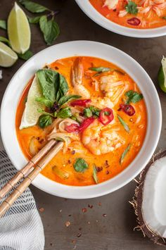 This Thai shrimp noodle soup is full of ginger, lime leaf, lemongrass, coconut milk and noodles to warm up your soul with a handful of shrimp for protein.