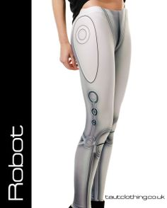 Robot android metallic look leggings by Taut