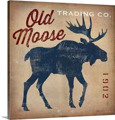 Great for 'Old Moose Trading Co.Tan' by Ryan Fowler Vintage Advertisement by Great Big Canvas Wall Art Decor from top store Moose Decor, Moose Art, Bear Decor, Wall Art Prints, Canvas Prints, Big Canvas, Canvas Size, Framed Prints, Moose Silhouette