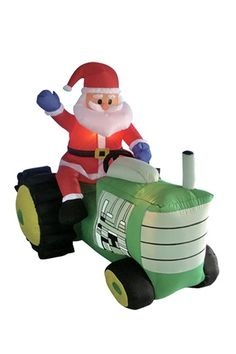 outdoor giant airblown decorations christmas inflatable santa claus driving tractor blow up yard decoration - Outdoor Christmas Inflatable Yard Decorations