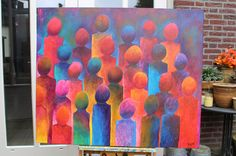 'a crowd' ( right piece ), 120 x 100 cm painting, 2007. by Paul Megens. info@paulart.nl