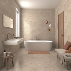 BEIGE BATHROOM IDEAS – Beige stems from brown. The colour attracts us because it looks bright and homey. No wonder that many house owners apply the co. Bathroom Feature Wall Tile, Beige Tile Bathroom, Small Bathroom Tiles, Zen Bathroom, Natural Bathroom, Bathroom Colors, Bathroom Ideas, Bathroom Styling, Bathroom Interior Design