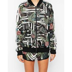 adidas Originals Tropical Track Jacket ($42) ❤ liked on Polyvore featuring activewear, activewear jackets, track jacket, tracksuit jacket, warm up jackets, adidas activewear and track top