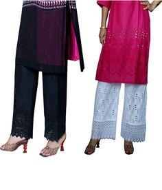 Auraori Combo of Black and White Cotton Palazzo Palazzo, White Cotton, Lace Skirt, Ethnic, Black And White, Skirts, Clothing, Stuff To Buy, Fashion