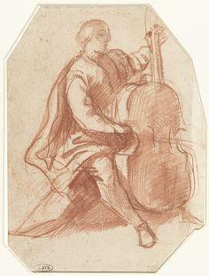 Viola da gambaspeler, driekwart van opzij, Pier Francesco Mola, 1645 - 1650