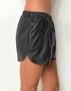 Some athletic styling for VERGE? PINHOLES* PLEATHER SHORTS - PINHOLES* PLEATHER ELASTIC WAIST LOOSE FIT SHORTS - Shorts
