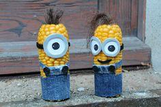 Basteln im Herbst: Maiskolben - Minions