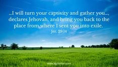 …I will turn your captivity and gather you…, declares Jehovah, and bring you back to the place from where I sent you into exile. Jer. 29:14