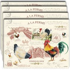 4 Sets de table rigides decor poule coq - Decor LA FERME