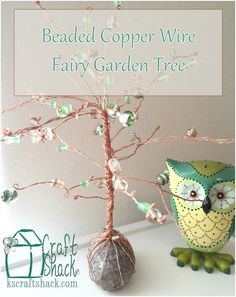Fun beaded copper wire tree. DIY tutorial for this fun Fairy Garden accessory!