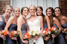 Bridesmaids : gray-blue dresses, autumn bouquets