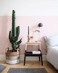 Ambiance bohème dans la chambre avec ce panier tressé et son cactus