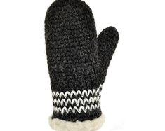 Hand Knit Gray White Wool Mittens Hand Knit Gray White Wool   Etsy Wool Gloves, Wool Socks, Mens Gloves, Knitted Gloves, Mittens Pattern, Knit Mittens, Knitting Socks, Hand Knitting, Christmas Knitting