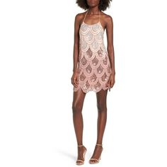 Women's Nbd Dame Sequin Minidress (13.260 RUB) ❤ liked on Polyvore featuring dresses, pink champagne, sequin mini dress, short sequin dress, flapper dresses, gatsby dress and champagne sequin dress