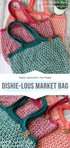 Dishie-lous Market Bag Free Crochet Pattern Colorful and easy, this is how we like it the most! These crochet bags are so modern and chic, right? We love their laid-back character, perfect for everyday wear. Crochet Market Bag, Crochet Tote, Crochet Baby, Knit Crochet, Crochet Birds, Crochet Purses, Crochet Cowl Free Pattern, Basic Crochet Stitches, Free Crochet
