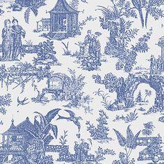 2669-21767 Sapphire Toile - Zen Garden - Empress Wallpaper by Beacon House