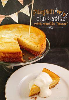 "Pumpkin Swirl Cheesecake with Vanilla ""Sauce"" recipe from ThisSillyGirlsLif... #Cheesecake #Pumpkin #FallRecipes #Vanilla"