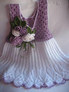 Vestido de verano en Lila y blanco con rosas OOAK