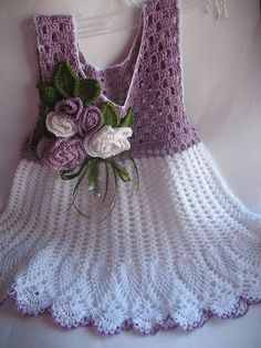 Summer Dress  in Lilac and White with Roses OOAK by ninellfux