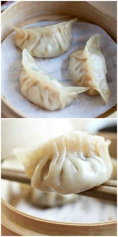 Steamed Dumplings - The tastiest morsels of pork and shrimp steamed in a bamboo steamer. Learn how to make the best Chinese dumplings just like Chinatown! Chinese Chicken Dumplings, Steamed Pork Dumplings, Stew And Dumplings, Vegetable Dumplings, Homemade Dumplings, Dumpling Recipe, Asian Pork Dumplings Recipe, Making Dumplings, Recipes