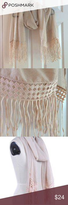 """Lace Trim Fringe Scarf Sheer-woven scarf. Lace trim & fringe. 76"""" long x 26"""" wide. 65% polyester 35% viscose. Can be worn in a scarf style or a light weight wrap. Drapes beautifully. Adds style to any outfit from casual to evening. A WARDROBE MUST HAVE!! Accessories Scarves & Wraps"""