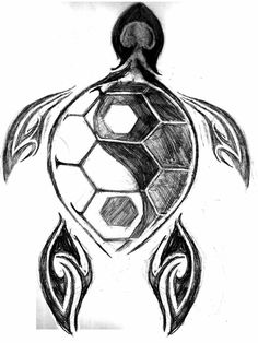My moms been looking for a good turtle tattoo and even a yin yang, never crossed either of our minds we could have both! Kunst Tattoos, Tattoo Drawings, Body Art Tattoos, Cool Tattoos, Art Drawings, Ocean Tattoos, Tatoos, Sleeve Tattoos, Yin Yang Tattoos