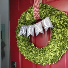 Wonderful way to update a boxwood #wreath for #Valentine's Day with cute printables from I Heart Nap Time.