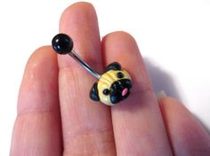 Pug Belly Button Ring Navel Stud Jewelry Bar by AzeetaDesigns