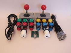 2-X-Maquina-Arcade-Joysticks-12-Iluminado-Led-Botones-Interfaz-Usb