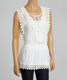 Look what I found on #zulily! White Sheer Embroidered Lace-Up Top by Fashion on the Run #zulilyfinds
