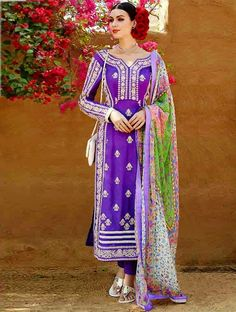 Bring forth your charm and elegance to the forefront with this purple pure georgette salwar suit. This exquisite salwar suit is best for festival and party. Shop on www.lookbuylike.com #designersuit #embroideredsuit #summercollection and more