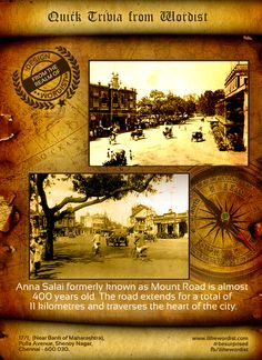 Anna Salai, formerly known as Mount Road, is an arterial road in Chennai, India.  #besurprised #Historytoday #Chennai #Madras #History #AnnaSalai