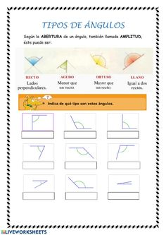 Tipos de ángulos: Ángulos ejercicio Math Coloring Worksheets, Algebra, Mathematics, Acting, Photoshop, Study, Circuit, Let It Be, Learning