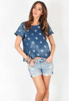Current/Elliott The Freshman Tee with Stars in Worn Indigo