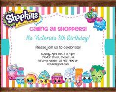 Shopkins Birthday Invitation Shopkins by NeedmoreDesigns on Etsy Shopkins Invitations, Birthday Invitations, Invites, Shopkins Bday, 5th Birthday, Birthday Ideas, Rsvp, Birthdays