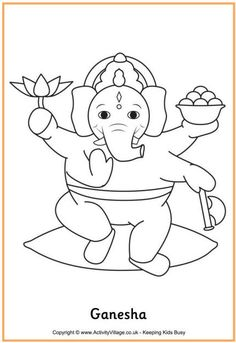 Here's a coloring page of Ganesha, or Lord Ganesh, one of the Hindu deities. He is the elephant-headed god of wisdom, education and success, and is worshiped at Diwali.