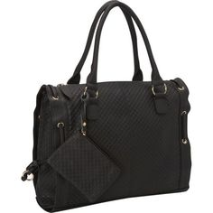 Black Leather Embossed Handbag