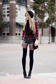 Want the shoes black velvet lace up wedges with a black Bennie some of these tights with this type of plaid shirt with these shorts