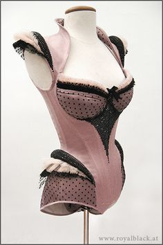 "Corset Body ""Pink Fairy""  Extravagant Corset Body with Cups, made from pink satin and tulle in various colours.  The cups and hips are accen..."