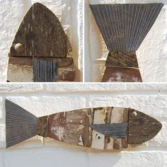These fun wooden fish decorations have been created using bits of old white fishing boats by artist Andrew Ruffhead. As a piece of fish wall art, each displays a weather worn appearance.