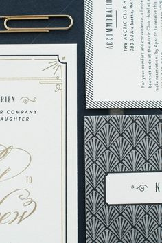Art Deco perfection via this wedding invitation suite, letterpress printed on our Lettra — @carinaskrobecki @NoeliaMaria Félix Mendoza Medina Félix Lucarino