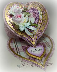 Easel card, made with dies from Tonic Studios. Paper and flowers are from Anna Griffin. Valentine Greeting Cards, Greeting Cards Handmade, Pop Out Cards, Crafters Companion Cards, Tattered Lace Cards, Anna Griffin Cards, Heart Crafts, Easel Cards, Heartfelt Creations