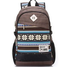 Big Folk Irregular Trunk College Rucksack Totem Camping Travel Canvas Backpack - lilyby